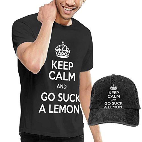 BAQQC Herren Kurzarmshirt Keep Calm and GO Suck A Lemon Fashion Men's T-Shirt and Hats Youth & Adult T-Shirts -