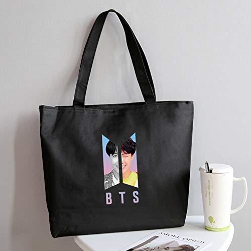 RosewineC KPOP BTS Cartoon Nette Druck Leinwand Tasche Große Kapazität Dual-Use-Student Handtasche College Style Umhängetasche Heißes Geschenk für Fans(1) -
