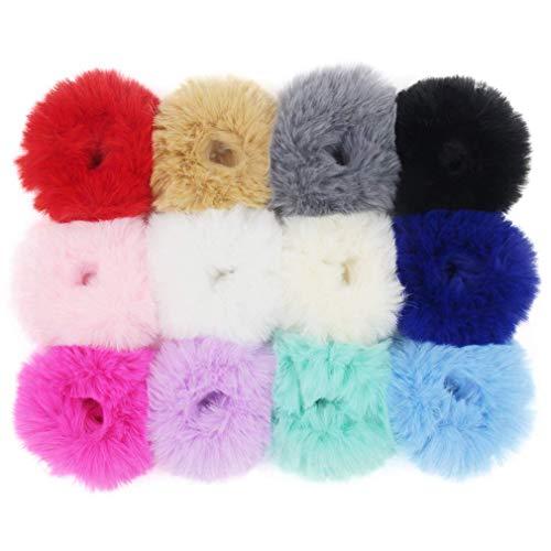 Pompon - elastici per capelli in pelliccia sintetica per coda di cavallo, colori misti, confezione da 12