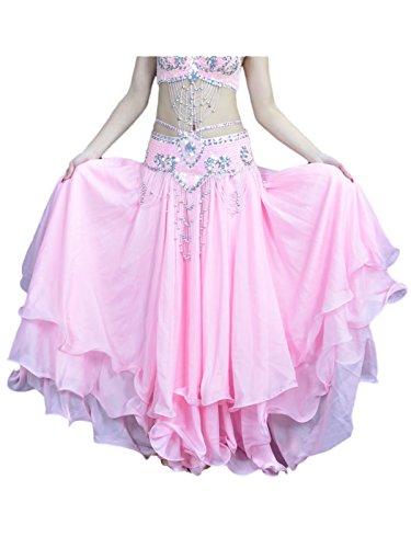 Damen Bauchtanz Rock dreischichtige Chiffonrock Tanzrock Rosa