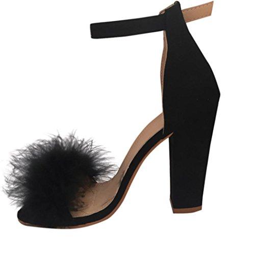 Damen Sandalen Ronamick Sommer Damen Block High Heel Sandals Knöchel binden Pelz Strappy Plateau schuhe (40, Schwarz) - Womens Strappy Wedge Sandal