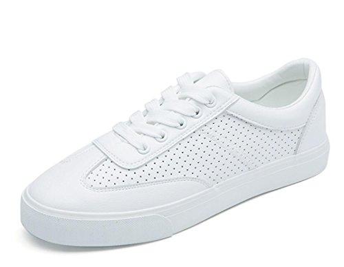 SHFANG Dame Schuhe Retro Kleine weiße Schuhe Flat Bottom Freizeit Bewegung Komfortable Studenten Schule Daily White Green White