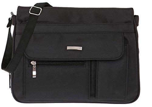 Handtasche ALESSANDRO VALENCIA Schultertasche Damentasche Microfaser Tasche 3054 + Schlüßeletui (Black-Schwarz) -