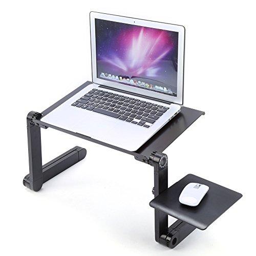 Einstellbare Laptoptisch Betttisch Notebooktisch Aluminium Notebookständer Laptopständer Schreibtisch Ständer Klapptisch mit Löcher Mausplatte (Mit Ständer Klapptische)