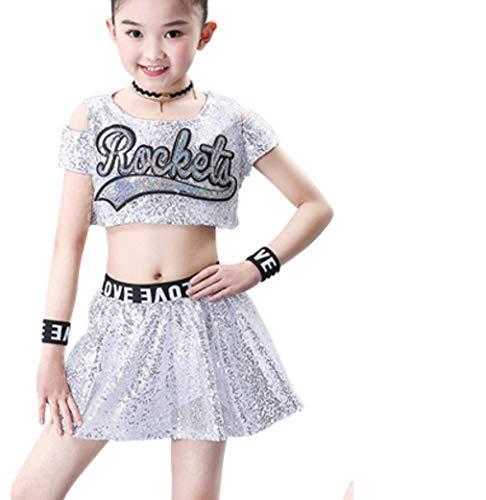 SMACO Kinderwettbewerb Cheerleader Uniforms Performance Kostüm - White Mädchen Kostüm