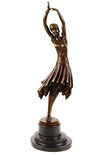 Bronzeskulptur Bronze Figur Frau Kita nach Chiparus Skulptur Antik-Stil Replik