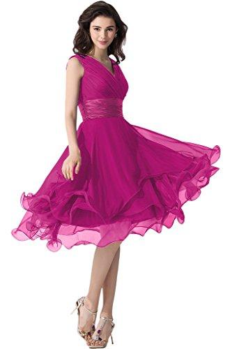 Victory Bridal Einfach Tief V Ausschnitt Abendkleider Ballkleider Brautjungfernkleider kurzes Chiffon Fuchsie