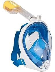 Emsmil 180° Grand Angle Masque de plongée avec tuba Full Face Masque de plongée de natation avec gratuit facile Respirer Design anti-buée et anti-fuite Technology Bouchons d'oreille pour Vacances