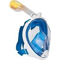 Emsmil Maschera a vista a 180 ° e tappi per le orecchie con design facile da respirare, tecnologia antiappannamento e anti-perdite per il nuoto e le immersioni Piccola e Media Blu