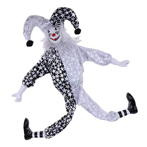 Baoblaze Lustige Clownmann Puppe mit Clown Make-up Kostüm - Ornament für Halloween Haus Tisch Dekoration - C - 41cm (Make-up Kostüm Halloween-puppe Und)