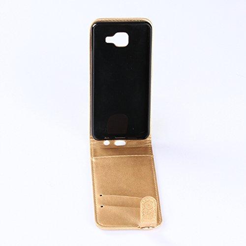 Samsung Galaxy A3 2016 Hülle Leder Tasche Flip Cover Galaxy A3 2016 Wallet Case Alfort Stilvoll Handycover Braun Mandala Blumen Muster PU Ledercase Brieftasche Handyhülle für Samsung Galaxy A3 ( 2016  Golden
