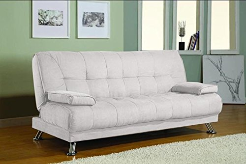 Divano letto sofa 187x88 bianco ecopelle braccioli - Divano letto 2 posti amazon ...