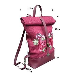 Damen Burgund Rucksack aus natural jute sackleinen mit Ledereinsätzen.Multifunktional Schultertasche mit rucksackfunktion.Foldover Rucksack mit gestickten Blumen