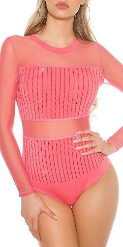 Edler Langarm-Body mit Mesh & Strass - Damen Bodysuit Transparent Farbauswahl One Size (Coral)