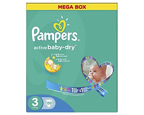 150 PAMPERS WINDELN, ACTIVE BABY-DRY, MIDI, GR. 3, 4-9 KG, DIE WINDEL FÜR TAG UND NACHT + Mit der Auslaufsperre, in der MEGA BOX