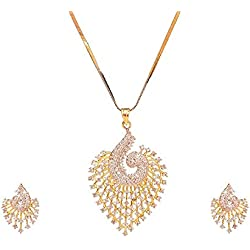 Sitashi Fashion Jewellery Gold Plated Heart Shape AD American Diamond Pendant Set for Girls and Women
