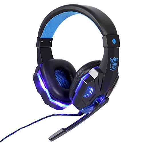 JUHALL PS4 Gaming Kopfhörer, Gaming Headset mit USB/Klinken-Stecker Mikrofon LED Effekt für PC Xbox One Film Gaming Spielen Chat Musik. ... (Blau)