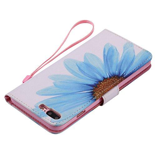 E-Lush Premium PU Leder Laserschneiden Schmetterling Muster Tasche für Apple iPhone 7/7S Plus(5,5 zoll) Einfach Einfarbig Muster Klapphülle 360 Full Body Protection Flip Case Wallet Cover Weiche Flexi Blau Chrysantheme