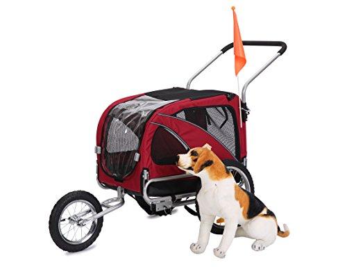 LEONPETS 2 in 1 Hunde Haustier Fahrradanhänger/Jogger Model 10201 Rot
