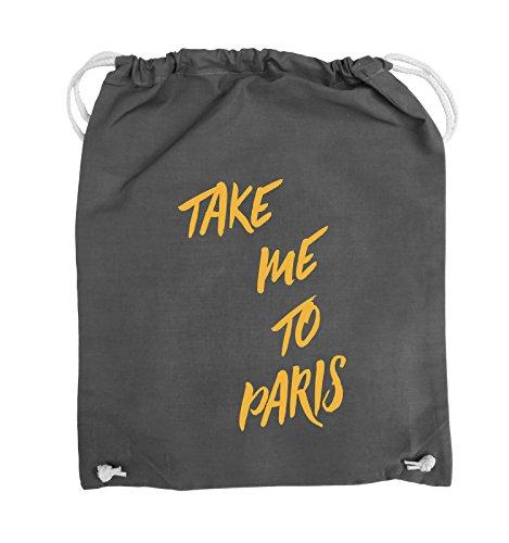 Comedy Bags - TAKE ME TO PARIS - Turnbeutel - 37x46cm - Farbe: Schwarz / Pink Dunkelgrau / Gelb
