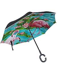 Mumimi LEISISI Cute Tigers - Paraguas invertido, doble capa, resistente al viento, protección