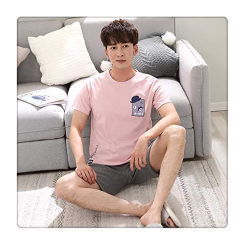 9634ec2453 Summer Men's Pajamas Set Cotton Sleep Shirt & Shorts Suit Male Sexy  Sleepwear Suit Homewear Pijama