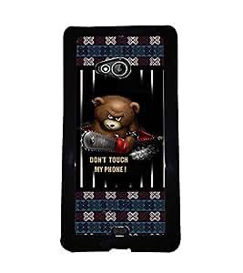 PRINTVISA Don't Touch my phone Premium Metallic Insert Back Case Cover for Microsoft Lumia 540 - D5934