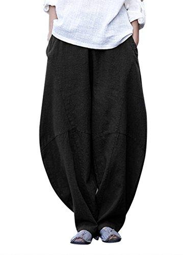 HAPPY CHERRY Damen Pumphose Vintage Leinenhose Haremshose mit elastischem Bund Wide-Leg Pluderhose Bequem Atmungsaktiv Freizeit Hose mit Taschen