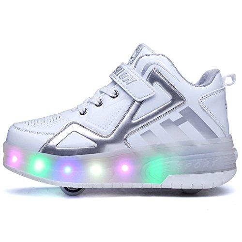 KISCHERS Kinder High-Top Led Schuhe Mit 2 Rollen Skateboard Rollschuhe Sneaker Weiß