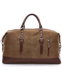 WOMJIA PU Vintage Voyage sac de sport weekender bagage à main de sac de Sac en bandoulière 35L Bleu