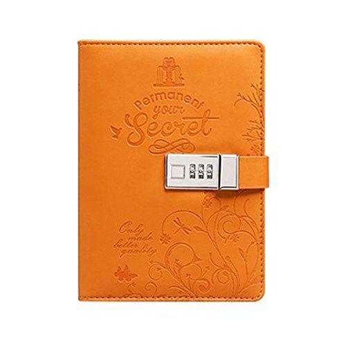 yakri B6Piel Sintética revistas Nota Libros Secreto Diario Con Candado, forro de contraseña Bloqueo diario Diary tpn012, color naranja 5.5x7.9x1.3 inch