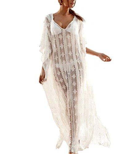 Esen-fa Sexy Strandkleid, langer Cardigan, Badebekleidung, aus durchsichtiger Spitze Gr. onesize, White A