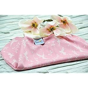 Strampelsack aus Bio-Baumwolle, 50 56 (0-3 Monate), Schlafsack zum Pucken, Babys, Kinder, Frühchen, Pucksack für Bett Kinderwagen, rosa creme, Elfen, Feen, Blumen, Geschenk