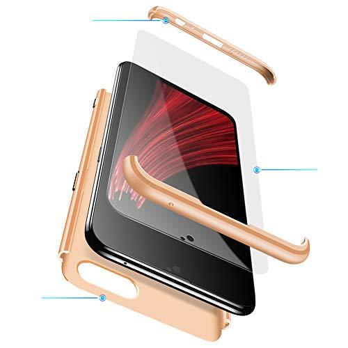MEVIS Oppo F7 Hülle,360 Grad hülle Fullbody case+(1*Hartglas Glasfilm Schutzfolie) 3 in 1 Ultra dünner pc Hardcase Scratch und Shockproof-Gold