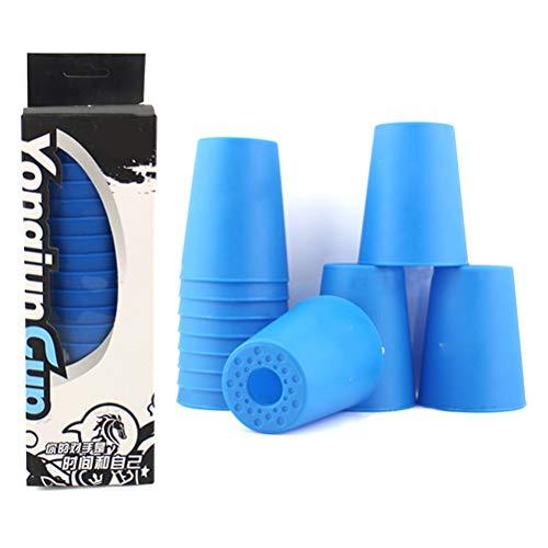 Deeabo 12 Teile/Satz Stapeln Spielzeug Tassen, DIY Kunst Mini Stapel Tasse Schnelle Herausforderung Party Spiel Spielzeug Student Lernspielzeug Aktivität Spaß Zeit für Kinder und Erwachsene, Blau