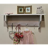 Goodwood Originals Shabby chic shelf 4 Shakers pegs shelf, pavilion white