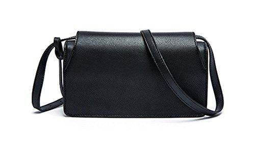 Xinmaoyuan Borse donna colore solido retrò fibbia in metallo platino borsa tracolla croce diagonale cuoio quadrato piccolo sacchetto,blu Nero