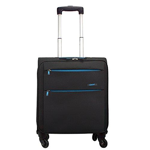 Everest & Bordure noir/bleu moyen de quatre roues 76 cm-bagage valise avec fermeture Éclair bleue Noir