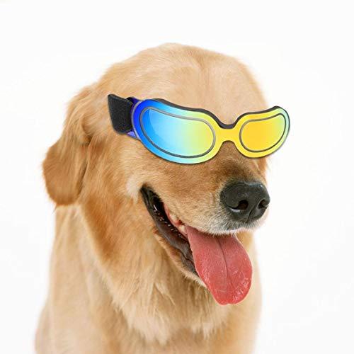 JSMeet-Hundesonnenbrille, UV-Schutz, winddichte Hundebrille, Antibeschlag-Hundesonnenbrille für Haustiere mit verstellbarem Trageriemen, stilvolle Augenschutz-Hundebrille für kleine, mittelgroße Hunde