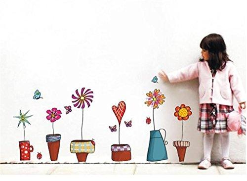 Pflanze Blume Schmetterling Fenster Wand Aufkleber DIY Kunst Abziehbilder ()