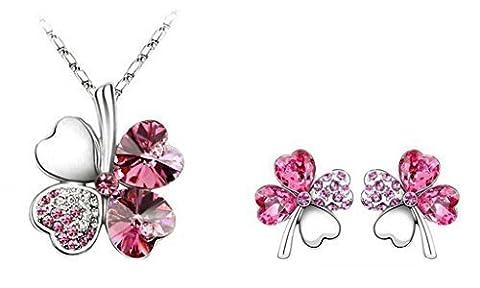 B.Z La Vie ®Trèfle à 4 Feuille Parure Collier 45cm et Boucle d'oreille Cristal de l'Autriche Rose Cadeau Saint Valentin