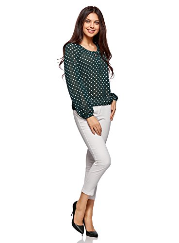 oodji Collection Damen Druckbluse mit Bindebändern Grün (6912D)