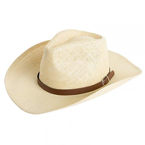 CASPAR Herren Stroh Hut / Panama Hut / im Cowboy Stil mit braunem Gürtelband / Stetson - viele Farben - HT009, Farbe:beige;Hutgröße:S/M - 58cm Kopfumfang (Herren-stroh-hüte Cowboy-hut)