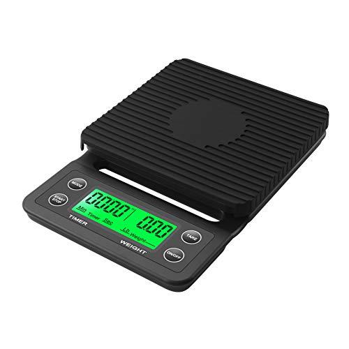 RCYAGO Hohe Präzision 5 kg 0,1g LCD-Kaffee-Skala Mit Timer Tragbare Küchenwaage - Skala-timer