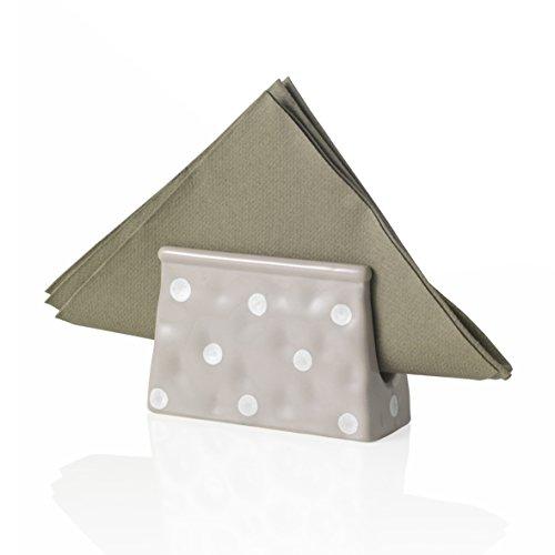 MONTEMAGGI Porta tovaglioli in ceramica a pois grigia e bianca.