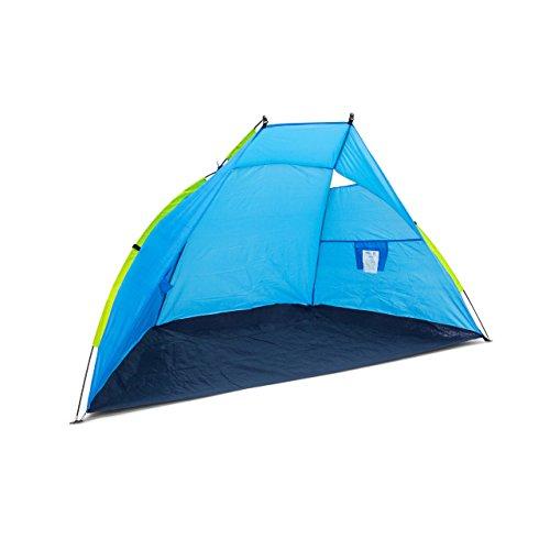 Relaxdays Strandmuschel, HxBxT: 120 x 220 x 120 cm, mit Transporttasche, UV 80, leicht, Strandzelt, dunkelblau-blau