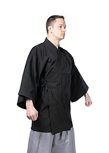 (Traditioneller Kimono LARP Herren Damen Mantel Samurai verschiedene Farben Größen XS-XL (XL, Schwarz))