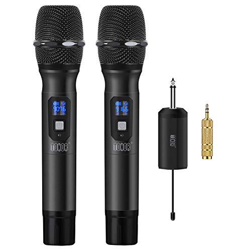 """TONOR Drahtlos Handmikrofon, 25 Kanal UHF Handheld Mikrofone mit Mini Tragbarem Empfänger 1/4\"""" Ausgang, für Kirche/Zuhause / Karaoke/Geschäftstreffen,Schwarz"""
