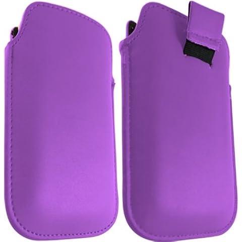 ONX3 Blackberry 9100 perla púrpura de cuero pull Tab Funda protectora Case + LCD Protector de pantalla