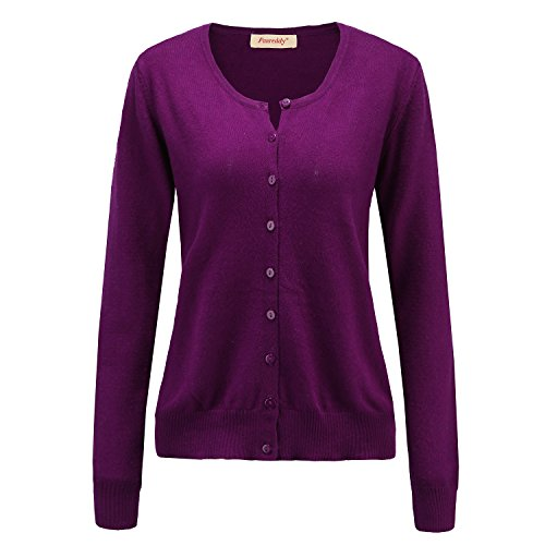 Panreddy Women's Wool Cashmere Classic Cardigan Sweater M Purple (Cardigan Knit Ribbed)